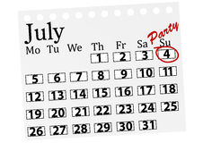 Abbildung eines Kalenders mit 4. Juli markierte Stockfotos