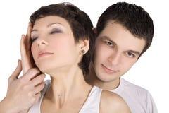 Abbildung eines lächelnden jungen Paares in der Liebe Stockfotografie