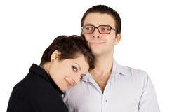 Abbildung eines lächelnden jungen Paares in der Liebe Stockfotos