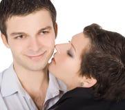Abbildung eines lächelnden jungen Paares in der Liebe Stockbilder