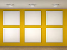 Abbildung eines leeren Museums mit 6 leeren Feldern Stockfotos