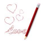 Abbildung eines roten Bleistifts Stockbild