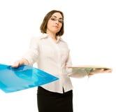 Abbildung eines Sekretärs mit Faltblättern Stockbild
