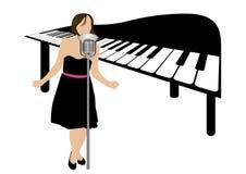 Abbildung eines singenden Klaviers und des Mädchens Lizenzfreies Stockfoto