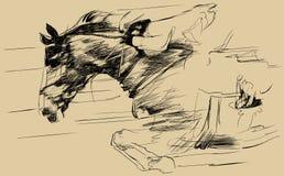 Abbildung eines springenden Pferds und des Jockeys Stockbilder