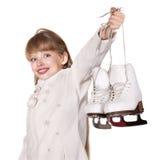 Abbildung Eislauf des jungen Mädchens. Stockbild