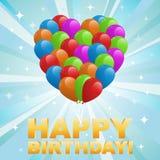 Abbildung für alles Gute zum Geburtstagkarte mit Ballonen Stockfotografie