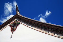 Abbildung im Dach des Buddhismus-Tempels Stockbilder