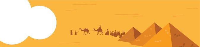 Abbildung im Vektor Gruppe von Personen mit Kamel-Wohnwagen-Reiten in den realistischen breiten Wüsten-Sanden im Mittlere Osten-E lizenzfreie abbildung
