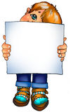 Abbildung. Kleiner Junge mit einem unbelegten Zeichen Lizenzfreies Stockfoto