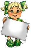 Abbildung. Kleines Mädchen mit einem unbelegten Sig Stockfotos