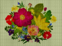 Abbildung Kreuzstich Blumenstrauß, Boutonniere vektor abbildung