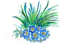 Abbildung mit blauen Blumen Stockfotografie