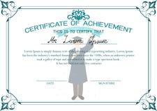 Abbildung mit Blumenfeld Zertifikat der Leistung Student im Aufbaustudiumen-Zertifikat Lizenzfreies Stockbild