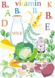 Abbildung mit dekorativer Nahrung und Gemüse Lizenzfreies Stockfoto