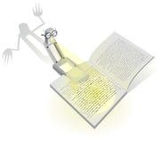 Abbildung mit einer Leselampe und einem furchtsamen Buch. Stockfotos