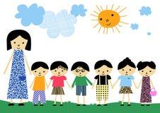 Abbildung mit Kindern Lizenzfreie Stockbilder