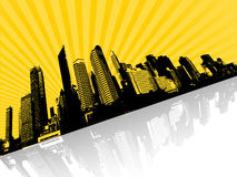 Abbildung mit Stadt. Vektor Lizenzfreies Stockfoto