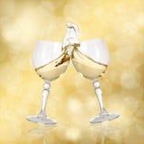 Abbildung mit zwei Gläsern Wein Stockbild