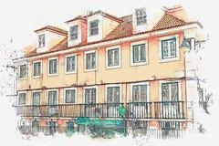 Abbildung Schöne alte Häuser auf der Straße in Lissabon in Portugal lizenzfreie abbildung