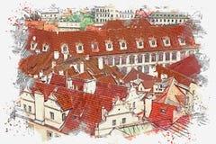 Abbildung Traditionelle alte Architektur in Prag Lizenzfreie Abbildung