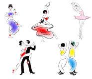 Abbildung von fünf Tanzarten Stockbild