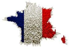 Abbildung von Frankreich mit Markierungsfahne und Blöcken Stockbild