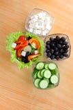 Abbildung von vier Platten mit Gemüse Stockfoto