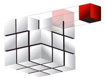 Abbildungauslegung des Würfels 3d Stockfotos