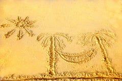 Abbildungen auf dem Sand Lizenzfreie Stockbilder
