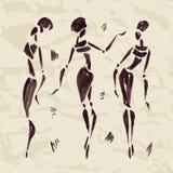 Abbildungen der afrikanischen Tänzer Hand gezeichnet Stockbild