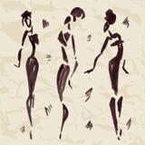 Abbildungen der afrikanischen Tänzer Hand gezeichnet Stockfotografie