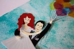 Abbildungen der Braut und des Bräutigams Lizenzfreies Stockbild