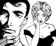 Abbildungen der jungen Paare in der Liebe Stockfoto