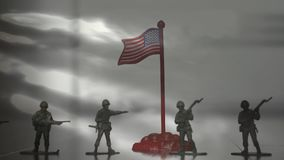 Abbildungen der Soldaten Schattenbild eines Soldat-Against Us Flag-Hintergrundes stock video footage