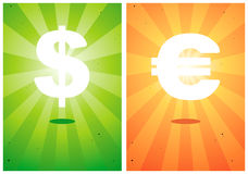 Abbildungen der Zeichen der Dollar und der Euro Lizenzfreie Stockfotografie