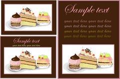 Abbildungen des Kuchens. Menü. Lizenzfreies Stockbild