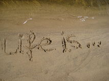 Abbildungen Leben ist auf Sand Lizenzfreie Stockbilder