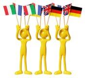Abbildungen mit europäischen Markierungsfahnen Stockbild