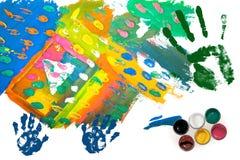 Abbildungfarben mit Drucken der Palmen Stockfoto