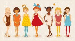 Abbildungset mit sieben Mädchen Lizenzfreie Stockfotos