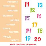 Abbini poi il colore i numeri 11 - 20 I bambini esprime l'apprendimento del gioco, fogli di lavoro con i grafici variopinti sempl illustrazione di stock