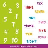 Abbini poi il colore i numeri 1 - 10 I bambini esprime l'apprendimento del gioco, fogli di lavoro con i grafici variopinti sempli illustrazione vettoriale