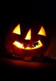 Abóbora de Halloween.Glowing na noite Fotos de Stock Royalty Free