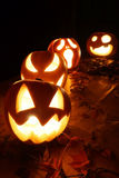 Abóboras da jaque-o-lanterna de Dia das Bruxas Fotografia de Stock