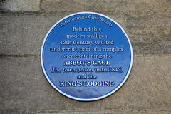 Abbots Gaol and Kings Lodging Plaque in Peterborough Stock Photos