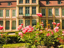 Abbots palace and flowers in gdansk oliva park Stock Image