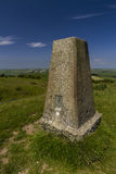 Abbotsbury Castle Trig Point 2. Triangulation Point on Abbotsbury Castle ancient earthwork, Abbotsbury, Dorset, England, United Kingdom Stock Image