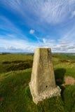 Abbotsbury Castle Trig Point. Triangulation Point on Abbotsbury Castle ancient earthwork, Abbotsbury, Dorset, England, United Kingdom Stock Image