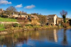 Abbotsbury Fishponds in Sunny Winter Light royalty-vrije stock fotografie
